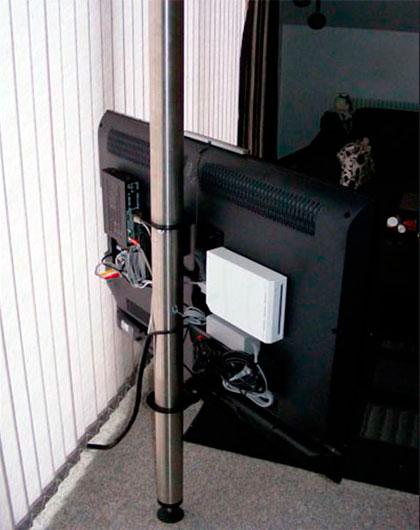 Soporte De Televisor Tubo Columna Piso A Techo Bases Y