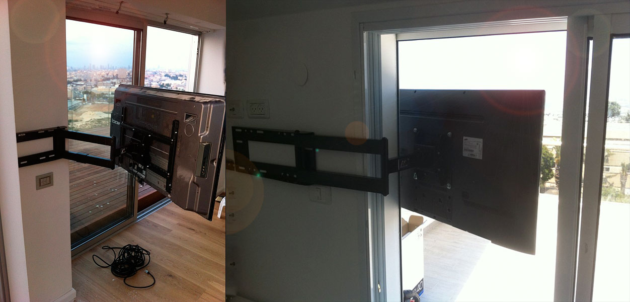 Instalación base soporte de pared doble brazo para tv