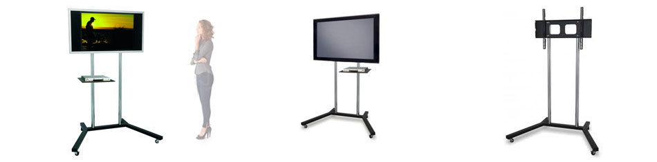 Base movil para televisor de suelo cromado satinado con for Soporte para tele