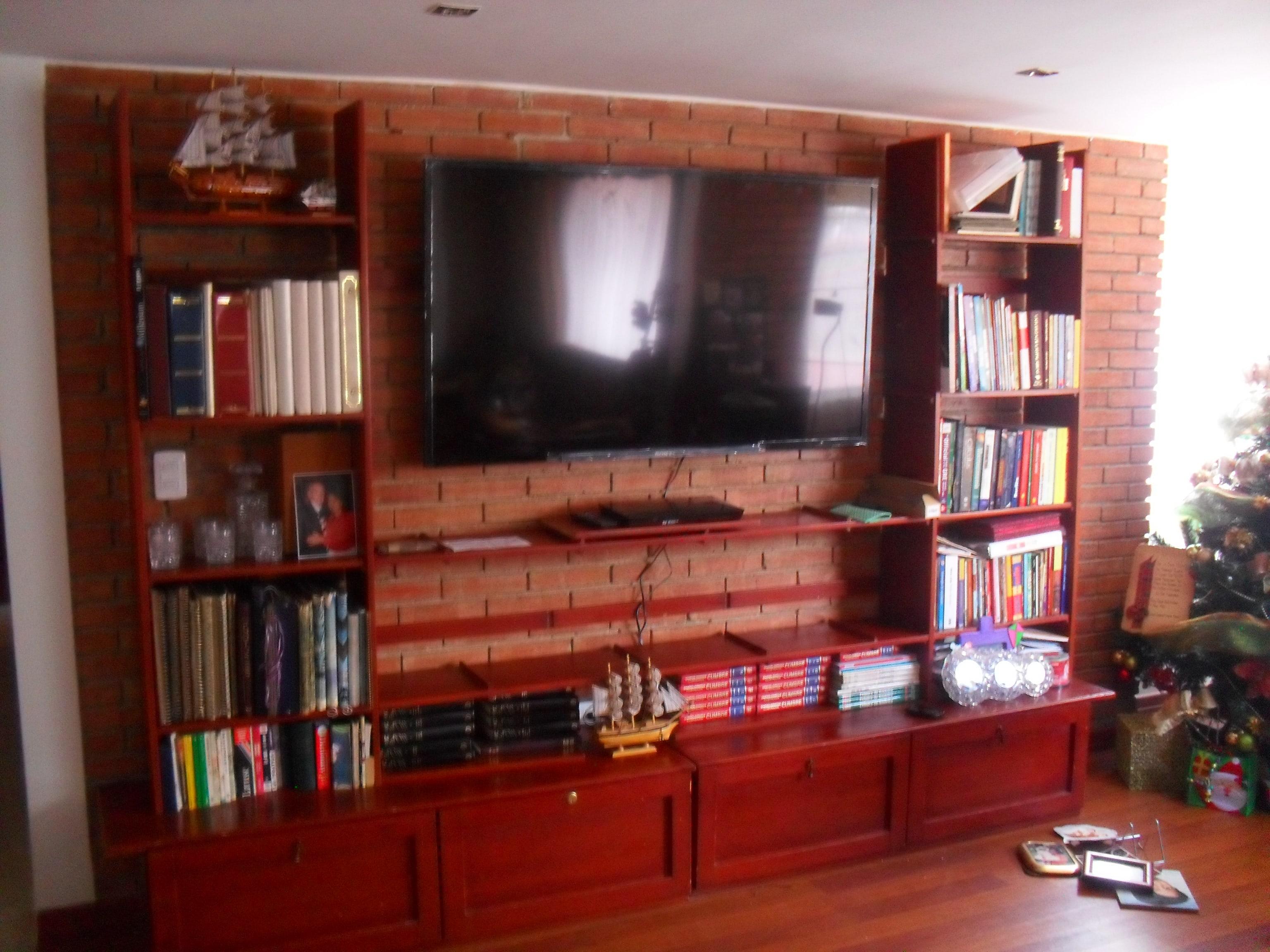 Empotrar tv led lcd en closet armario mueble y biblioteca con